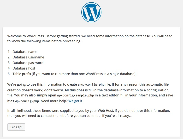 Screenshot showing the WordPress welcome configuration alert
