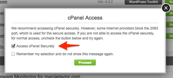 Screenshot showing the secure access options for cPanel