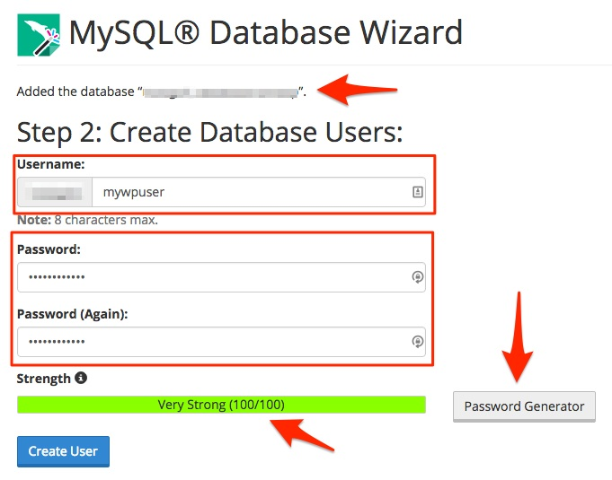 Screenshot showing the username creation step on MySQL Wizard