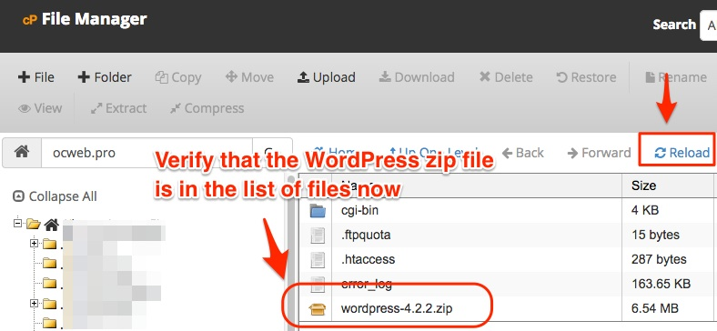 Screenshot showing the WordPress zip file