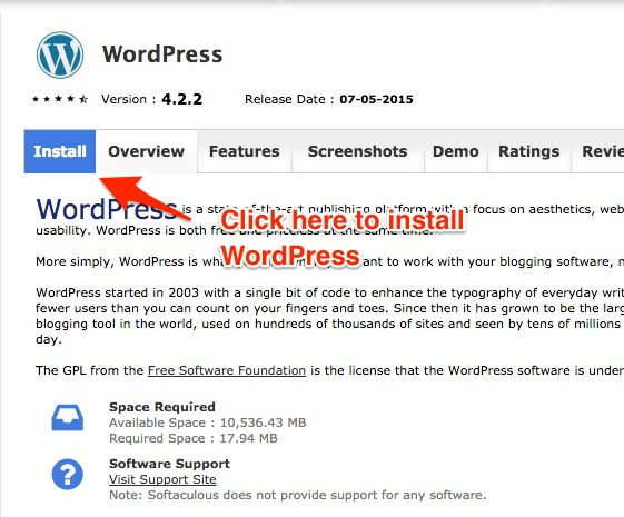 Screenshot indicating where to click to install WordPress