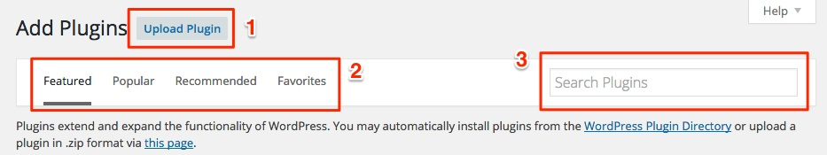 Screenshot indicating the methods to install plugins in WordPress