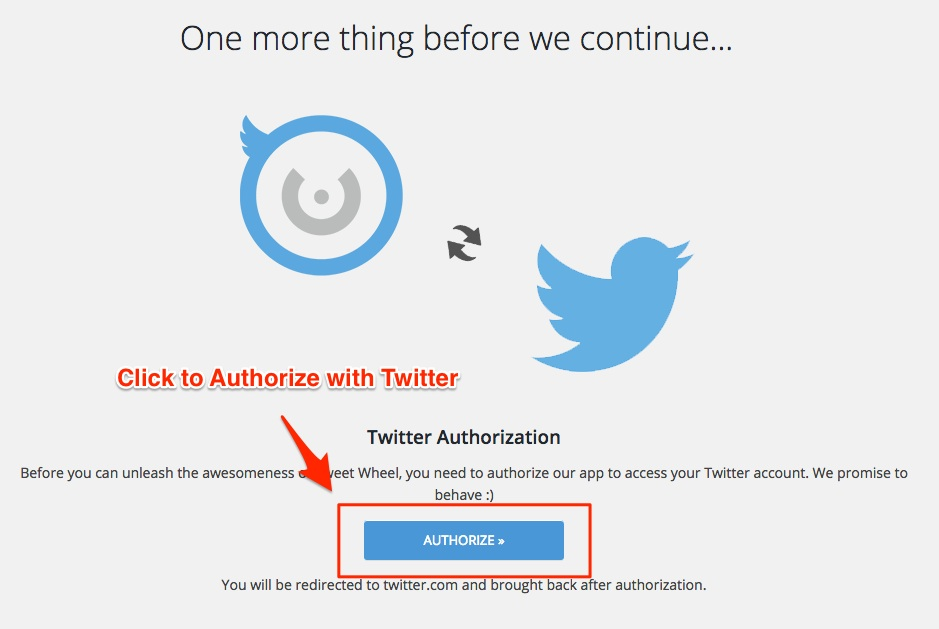 Screenshot showing the authorize Twitter account for Tweet Wheel
