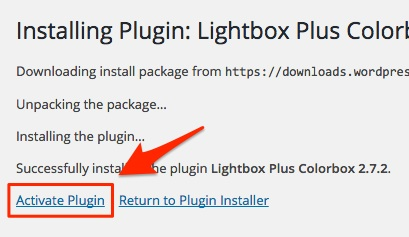 Screenshot showing the activation link in WordPress plugins
