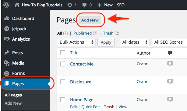 Screenshot showing how to add a new page to WordPress