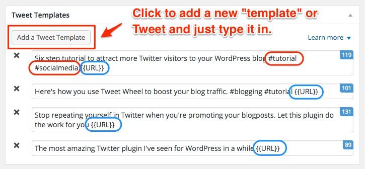 Screenshot showing examples of custom tweets for Tweet Wheel