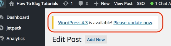 Screenshot indicating the update alert in the WordPress dashboard